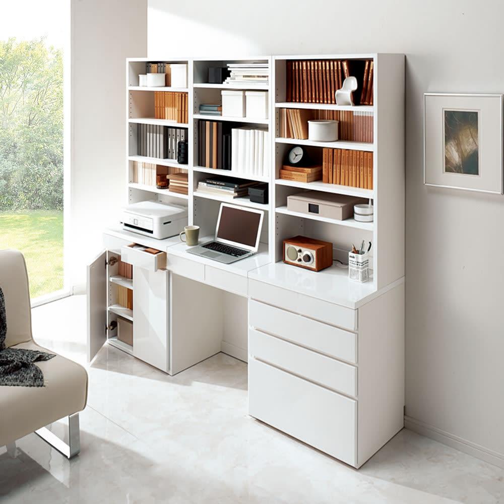モダンブックライブラリー デスクタイプ 幅80cm 光沢の美しいホワイトは、清潔感のある大人気の白家具です。(イ)ホワイト