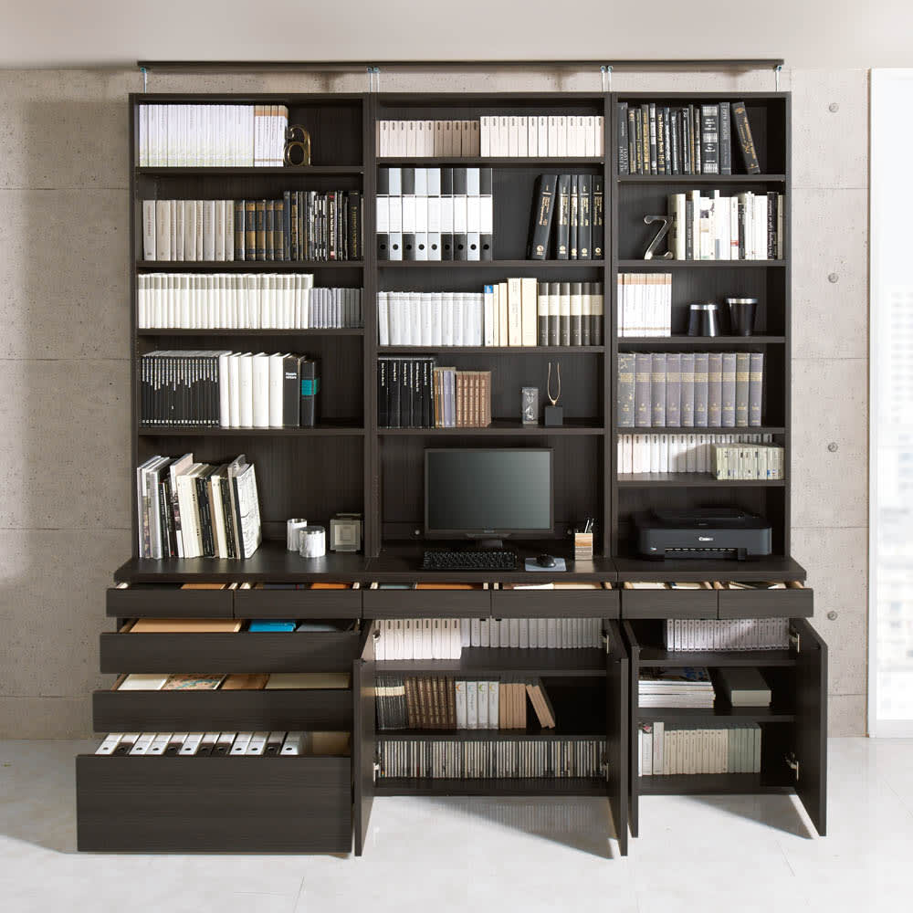 モダンブックライブラリー 天井突っ張り式 チェストタイプ 幅60cm コーディネート例(ア)ブラック