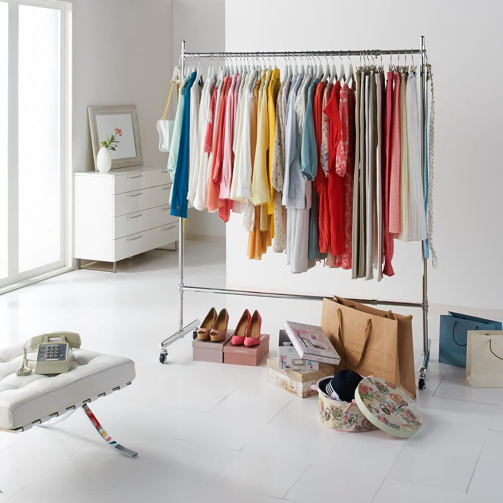 家具 収納 衣類収納 パイプハンガー プロ仕様 伸縮頑丈ハンガーラック シングルタイプ 幅122~152cm 592910