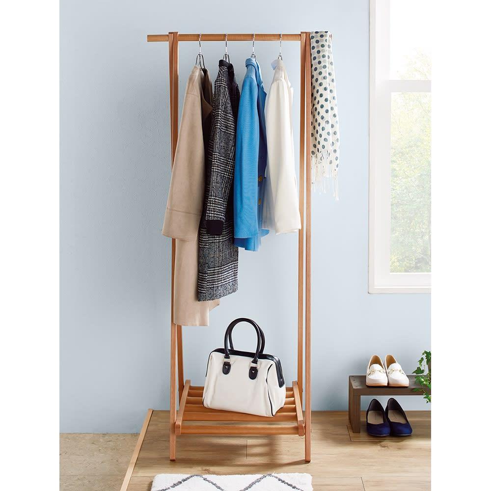家具 収納 衣類収納 コートハンガー 頑丈天然木A型ハンガーラック 幅73cm 593330