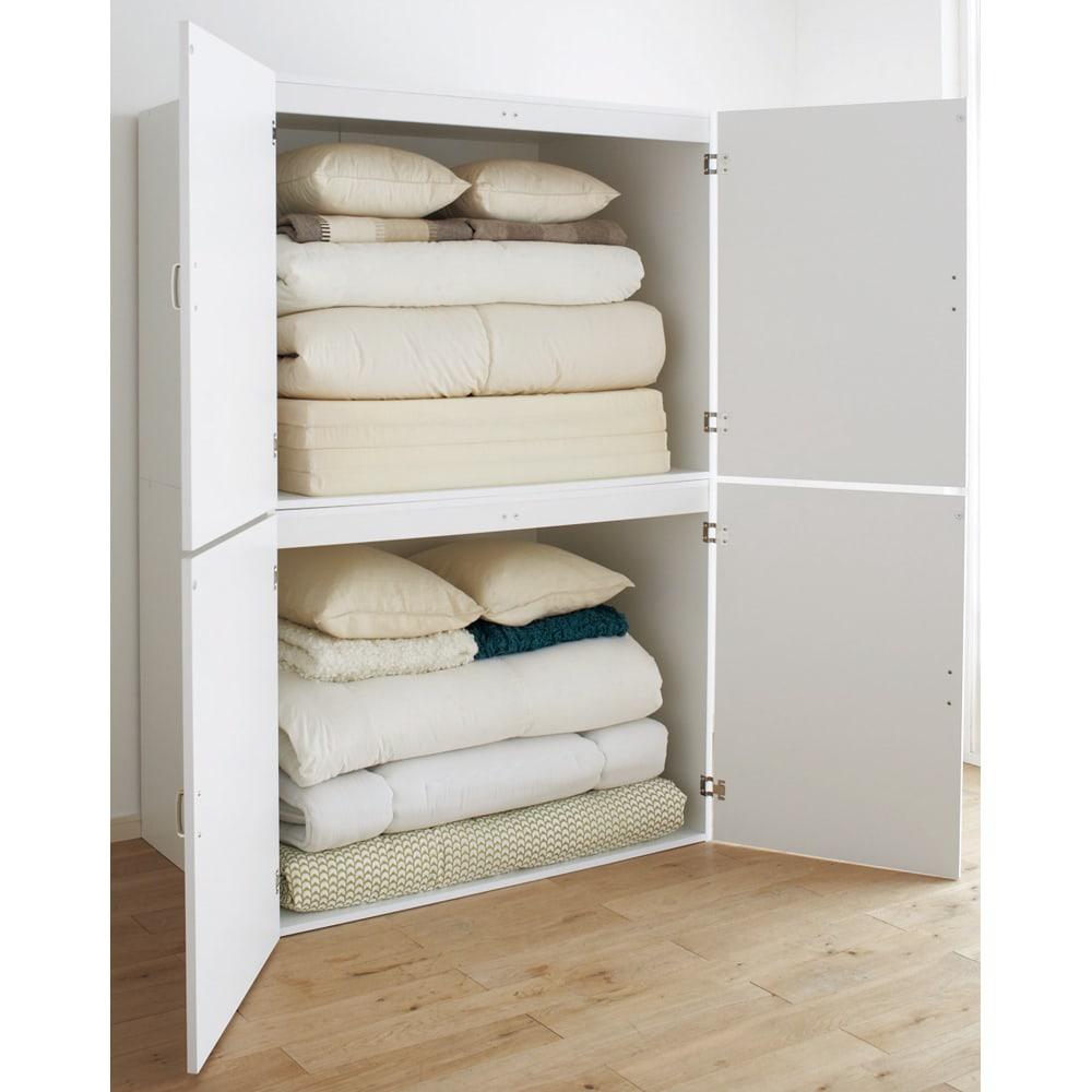 たっぷり奥行77cm モダン布団タンス 幅120cm 普段使う布団から来客用布団の収納までこれ1台で収まるアイデア収納家具です。