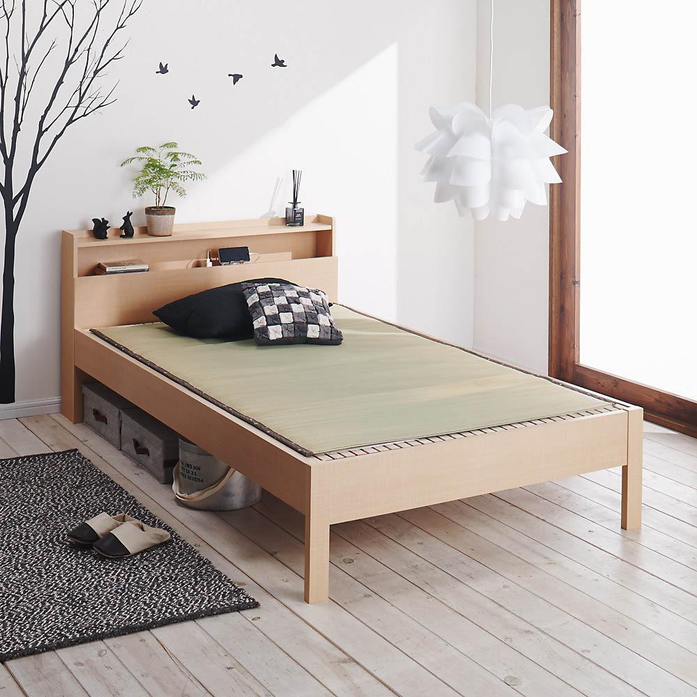 角あたりのない細すのこベッド 棚付き フレームのみ ゴザ使用イメージ