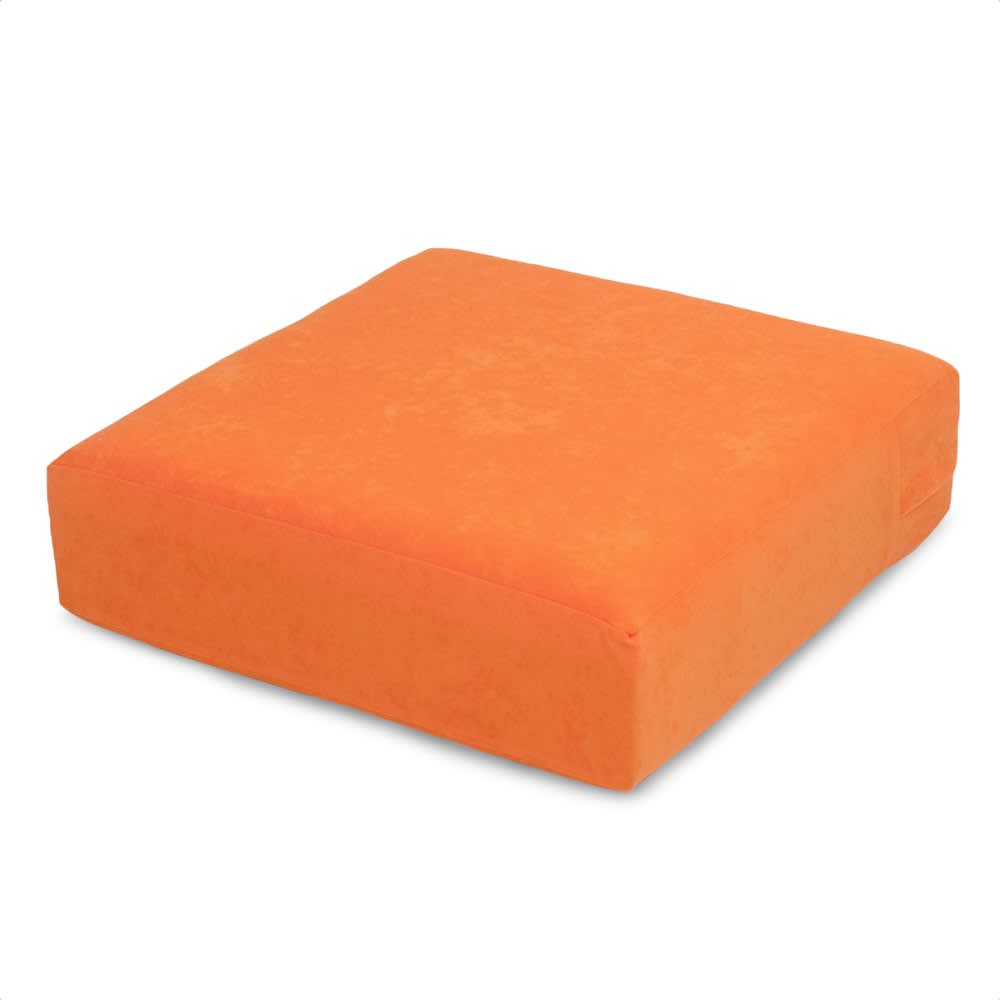 洗濯できるカバーの低反発ふんわりあぐら角クッション (エ)オレンジ(WEB限定色)