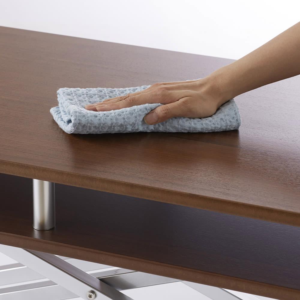棚付き昇降式テーブル 幅120cm (イ)ウォルナット  落ち着いた色味で高級感のあるウォールナット材を使用しています。