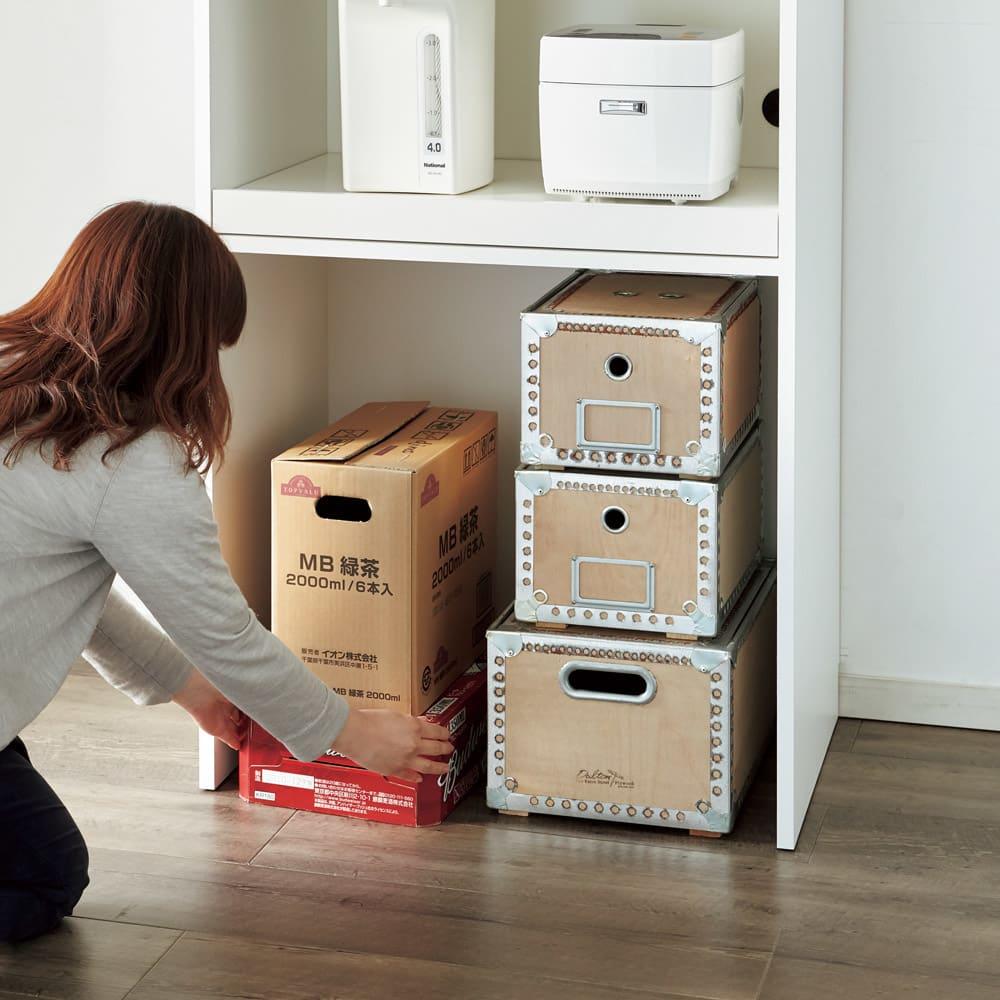 大型パントリーシリーズ レンジラック 下オープン 幅75.5cm 底板がないので、重い箱も持ち上げずに収納できます。