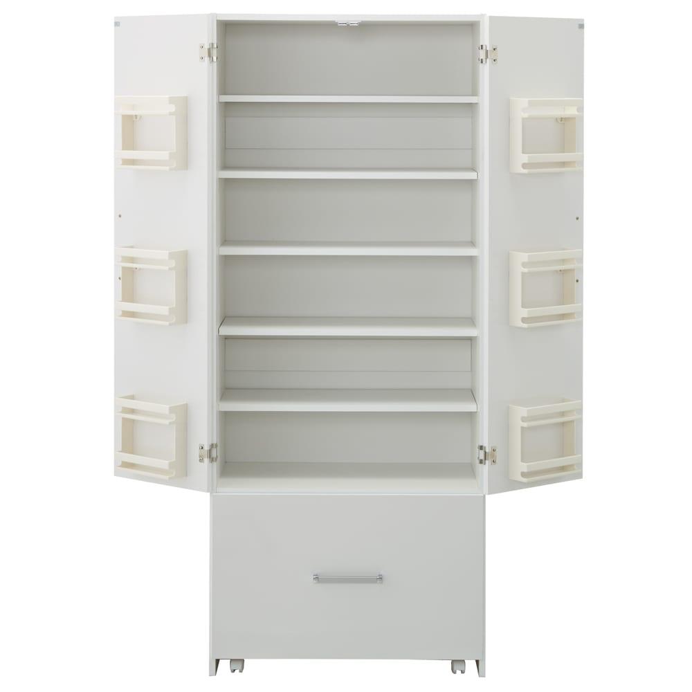 引き出して使える頑丈ワゴン付き キッチンストッカー 幅75cm アイデア満載のキッチン収納ラックです。
