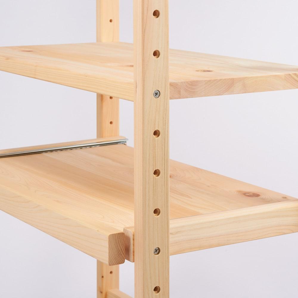 国産ひのきキッチンラック スライド2段タイプ ロータイプ(高さ89cm)幅60cm 【棚は全段可動】棚板とスライドテーブルは6cm間隔で高さの位置を調節可能。