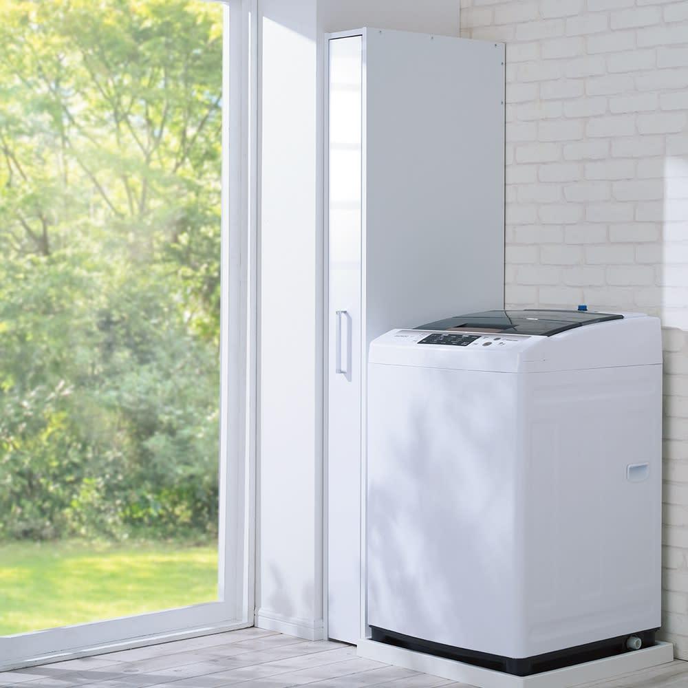 ボックス付きリバーシブル すき間収納庫 幅15奥行58cm 使わないときはボックスに収納。ホコリを防いで清潔にキープ。