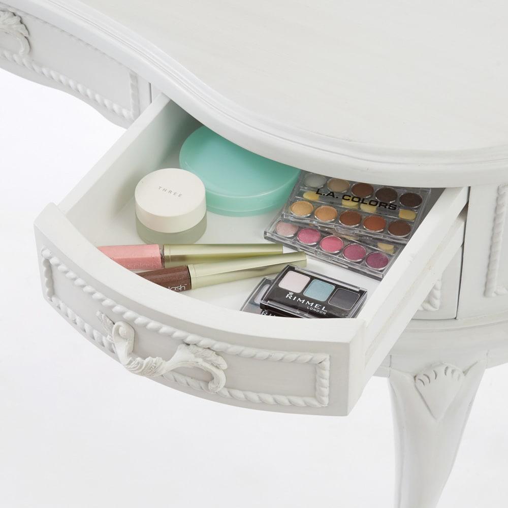 シャビーシック ホワイト フレンチ収納家具シリーズ ドレッサー コスメの収納に便利な引出付。