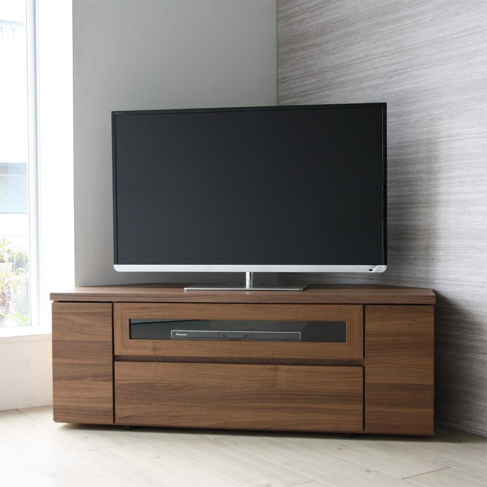 お掃除がしやすい天然木調コーナーテレビ台・テレビボード 幅120cm スッキリ感が人気。