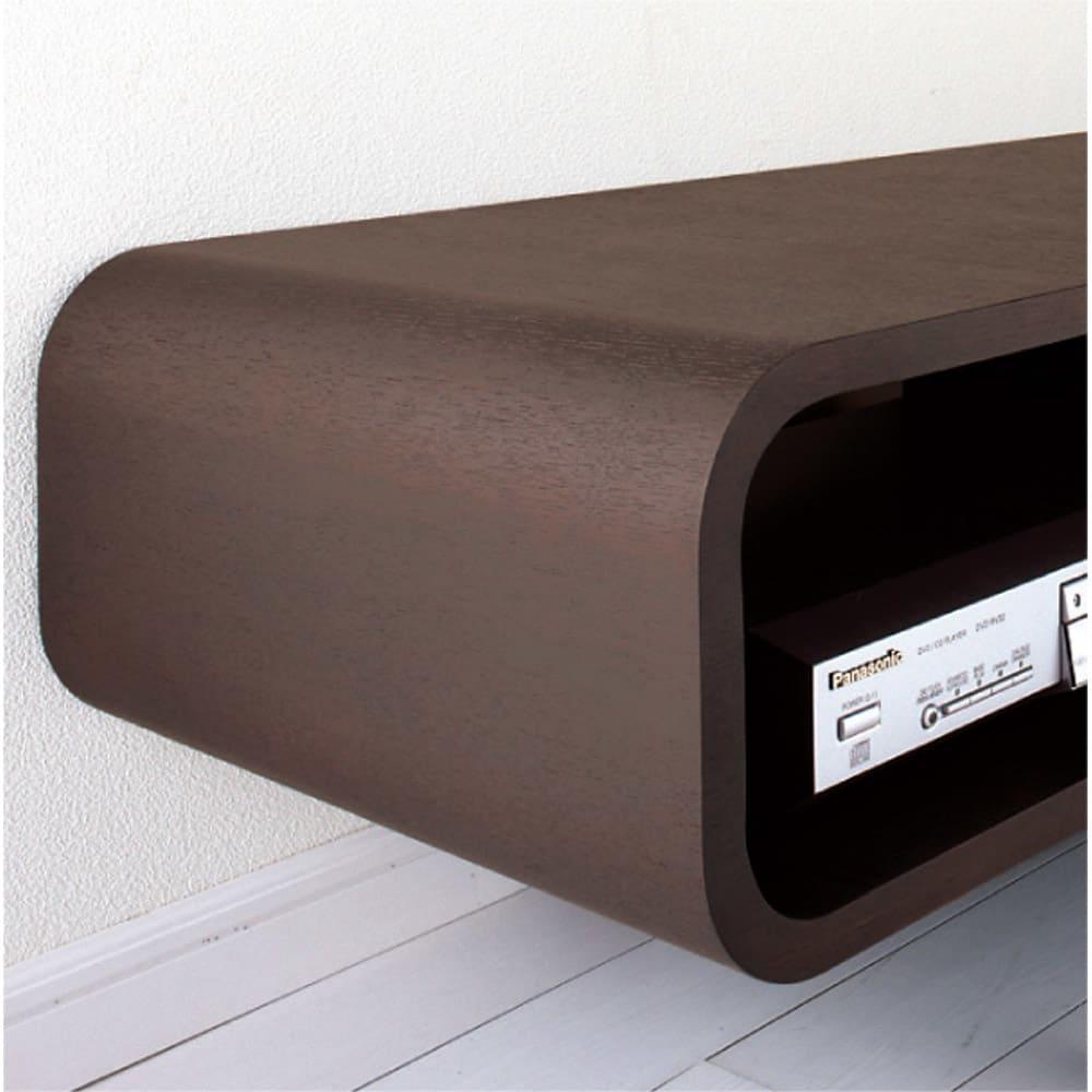 曲面加工のラウンドシェルフシリーズ テレビ台・テレビボード 1段2連 幅120cm 高さ21cm脚なしタイプ まるで1枚板のように美しい曲面ライン。