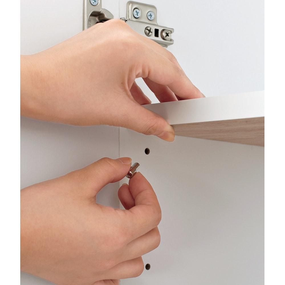 【日本製】壁面や窓下にぴったり収まる高さサイズオーダー収納庫 奥行44cmタイプ 扉幅オーダー25~45cm(左開) 棚板は3cmピッチで高さ調節が可能。効率よく収納できます。