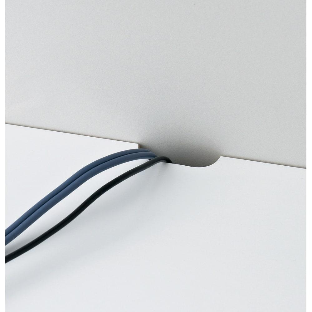【日本製】壁面や窓下にぴったり収まる高さサイズオーダー収納庫 左コーナー用扉 幅75奥行44cmタイプ 天板の奥には、配線コードが通せるかきとりを施しています。