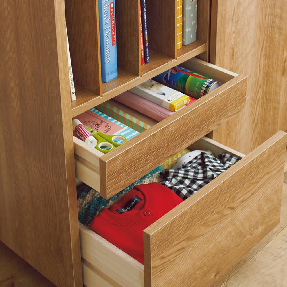 隠せる片引き戸ランドセルラック 幅60cm 【引き出し】ハンカチや裁縫箱などは深・浅それぞれの引き出しに。