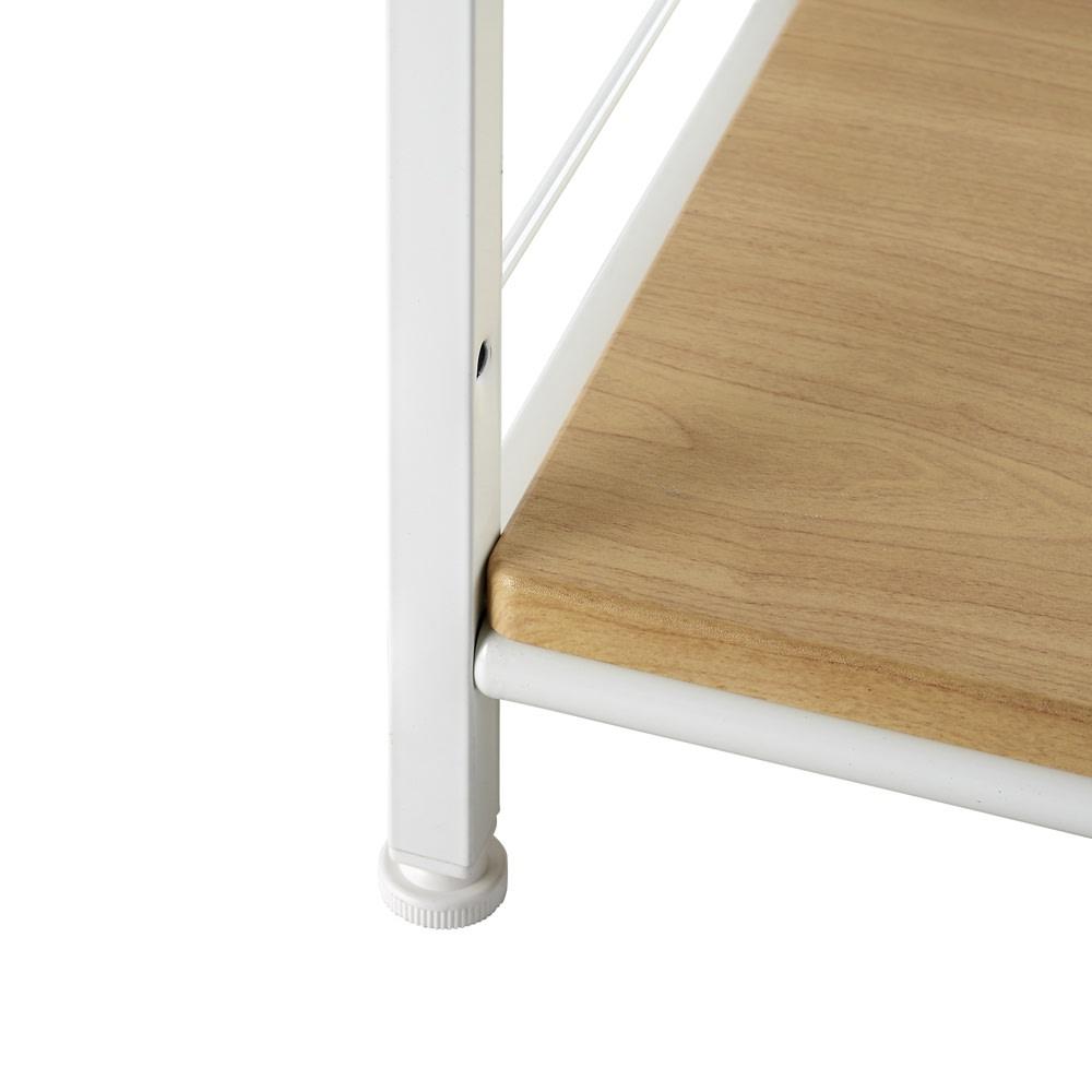 木目調シンプルパソコンデスク幅91cm奥行46cm (イ)ナチュラル×ホワイト…スカンジナビア風のお部屋にぴったりのさわやかな配色。白の脚部は圧迫感を抑えられるので、お部屋を広く見せる効果があります。