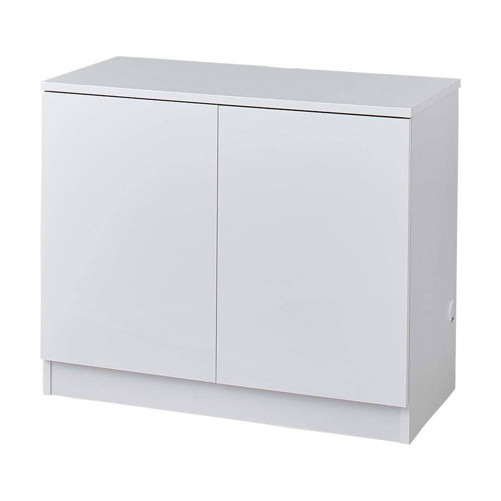 配線すっきり幅オーダーデスク キャビネット 幅60~150cm(1cm単位オーダー) (ア)ホワイト(光沢あり):清潔感があり、どんなお部屋にもすっきりなじみます。