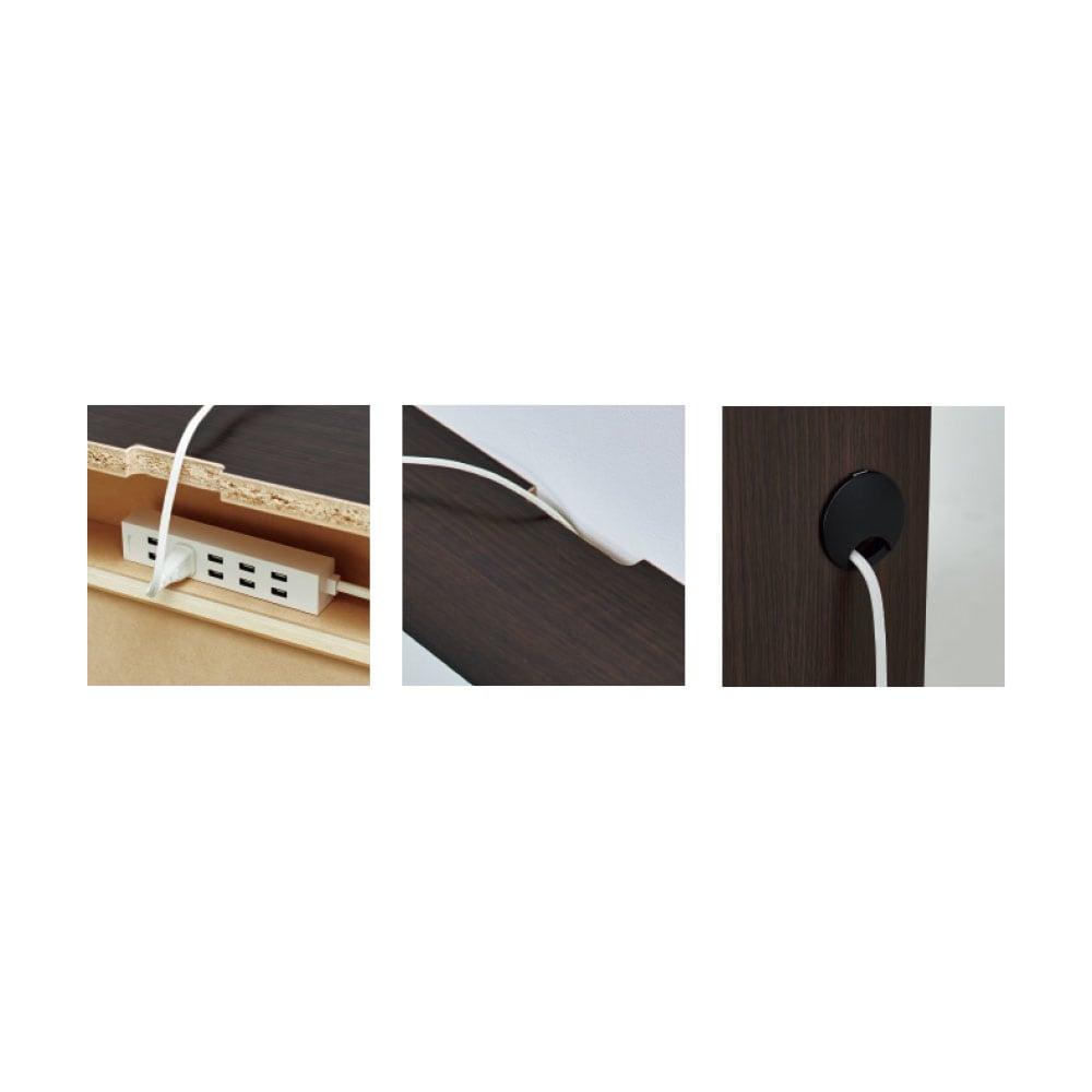 配線すっきり幅オーダーデスク キャビネット 幅60~150cm(1cm単位オーダー) (左)背面に電源タップの収納ポケット付き。(中央)天板のかきこみで壁にぴったり設置。(右)側面から配線できるコード穴付き。
