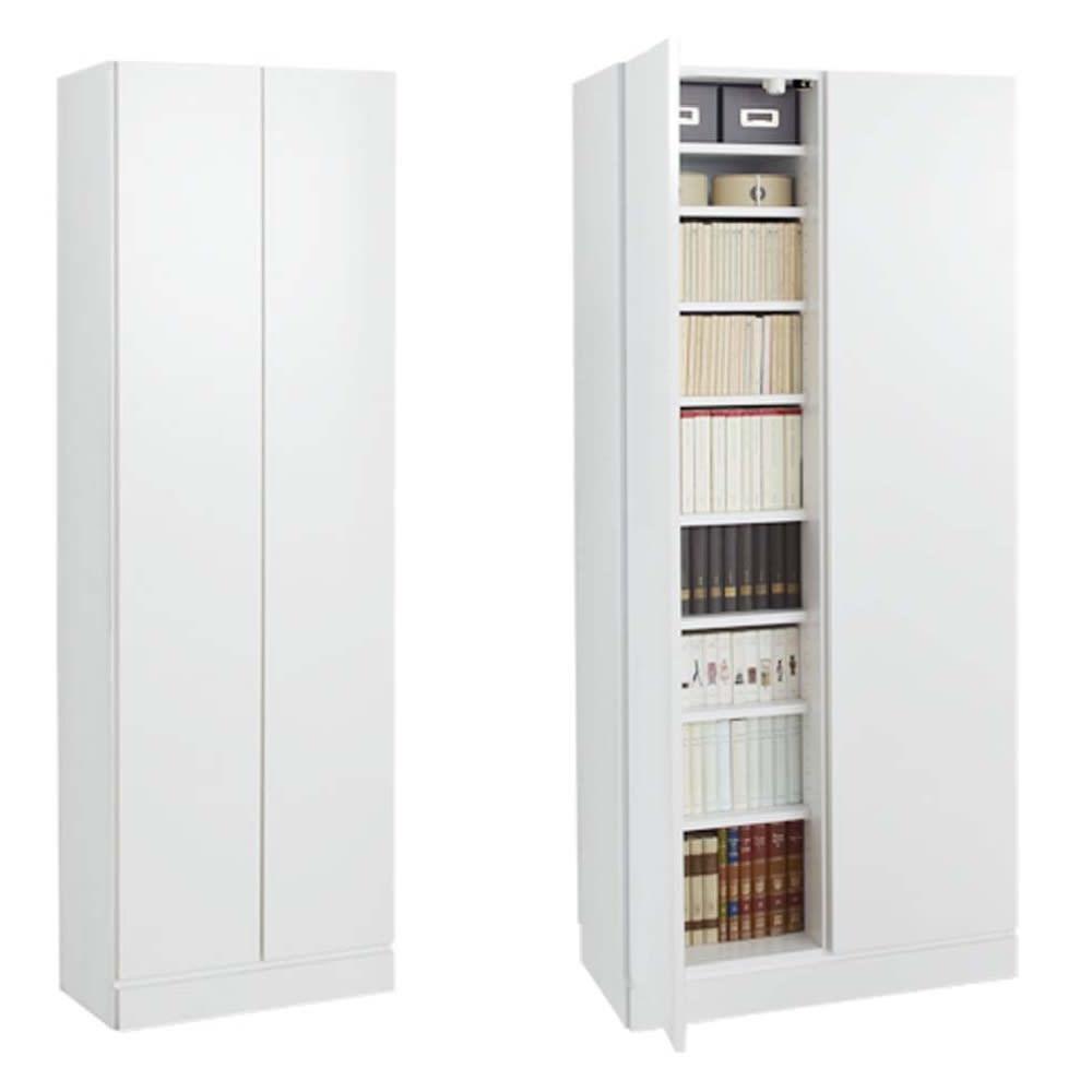 壁面書棚リフォームユニット 本体 幅60奥行44高さ180cm (イ)前面:ホワイト・本体:ホワイト ※写真は幅80cmタイプです。
