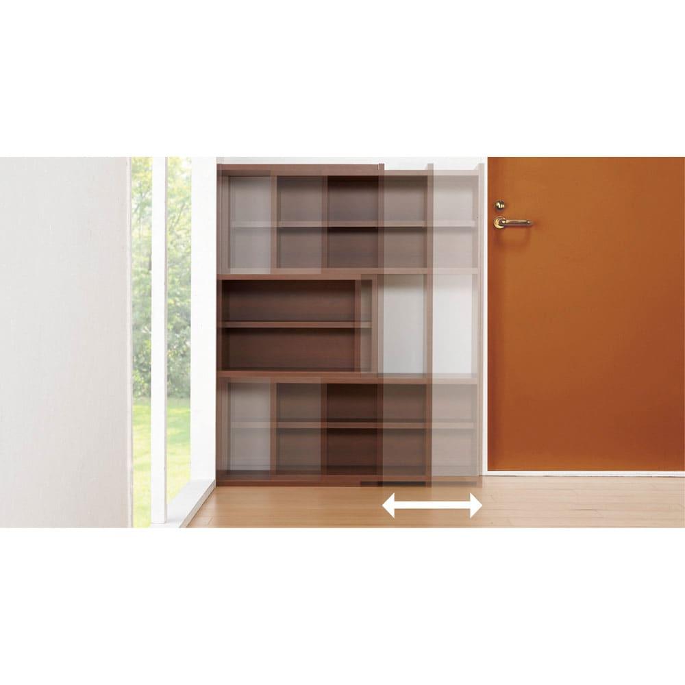 天然木調 伸縮式ブックシェルフ 2段・幅90~155cm 設置場所に応じてフレキシブルに幅伸縮。