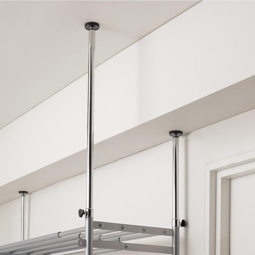 ウォークイン突っ張りハンガー 幅78~128cm・ハイタイプ(高さ218~280cm)カーテンなし 天井の高さは218~280cmまで対応できます。