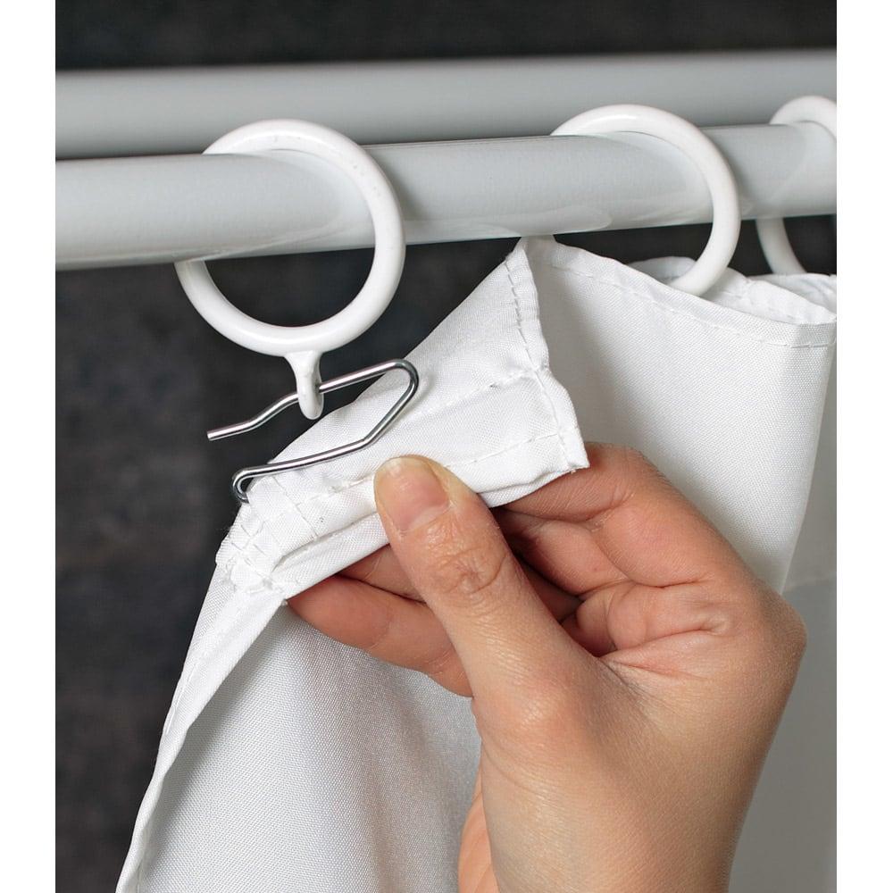 上下・左右カーテン付き ホワイトハンガーラック 引き出し付き・ロータイプ(幅170~238cm) 市販のカーテンも簡単に取り付けられるので、お気に入りのカーテンに変更可能です。(サイドカーテンは紐で結ぶ仕様になっています)