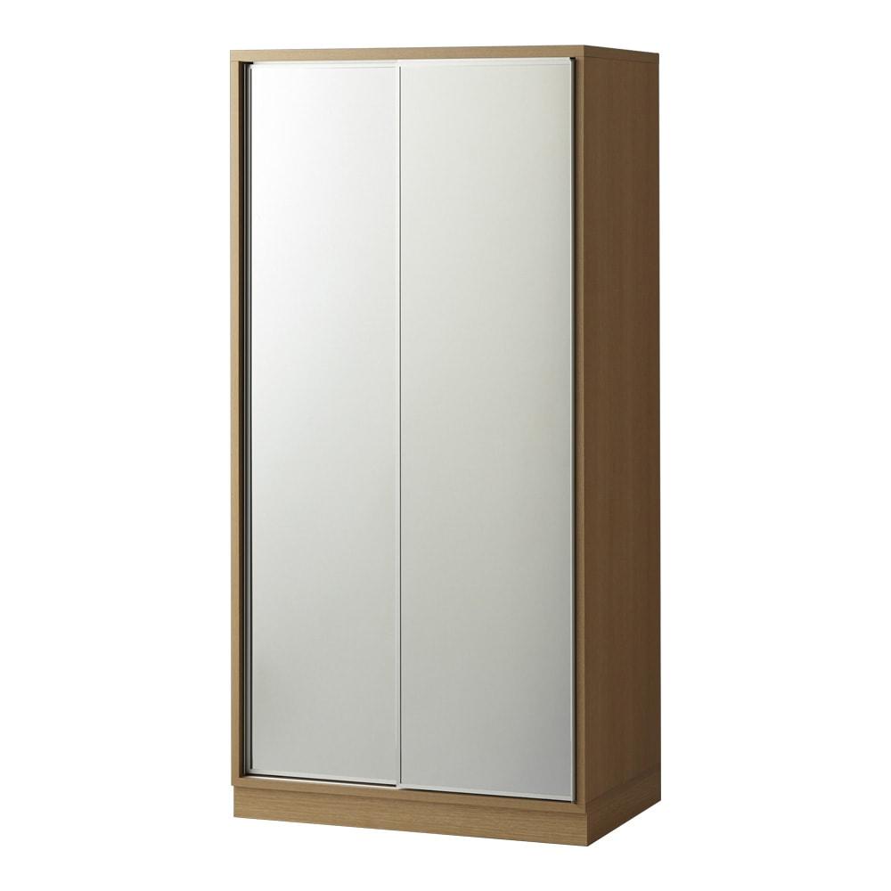 【日本製】引き戸式ミラーワードローブ ハンガー棚タイプ 幅88cm (イ)前板:ミラー・本体:メイプルナチュラル ※お届けする商品です。
