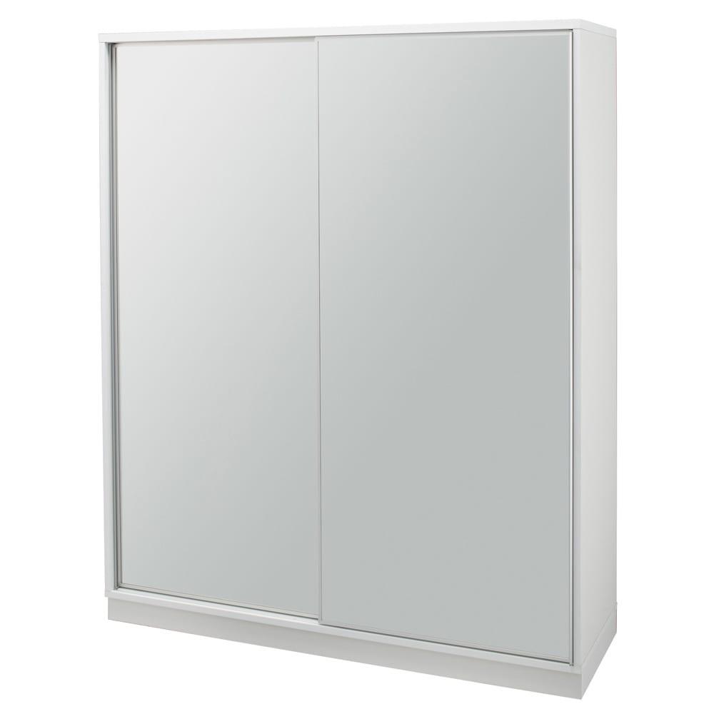 【日本製】引き戸式ミラーワードローブ 棚タイプ 幅148cm コーディネート例(ア)前板:ミラー・本体:ホワイト ※お届けする商品です。