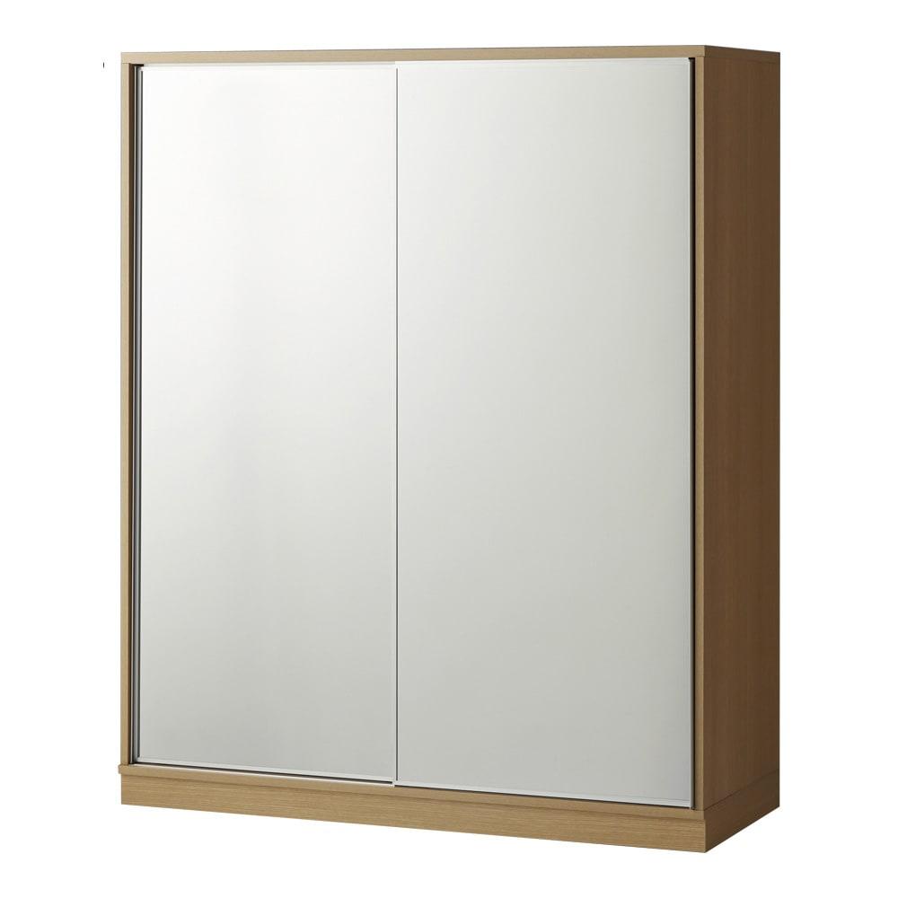 【日本製】引き戸式ミラーワードローブ 棚タイプ 幅148cm (イ)前板:ミラー・本体:メイプルナチュラル