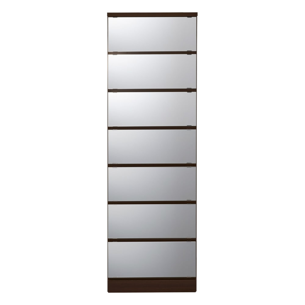 【日本製】引き戸式ミラーワードローブ タワーチェスト 幅57.5cm (ウ)前板:ミラー・本体:ダークブラウン