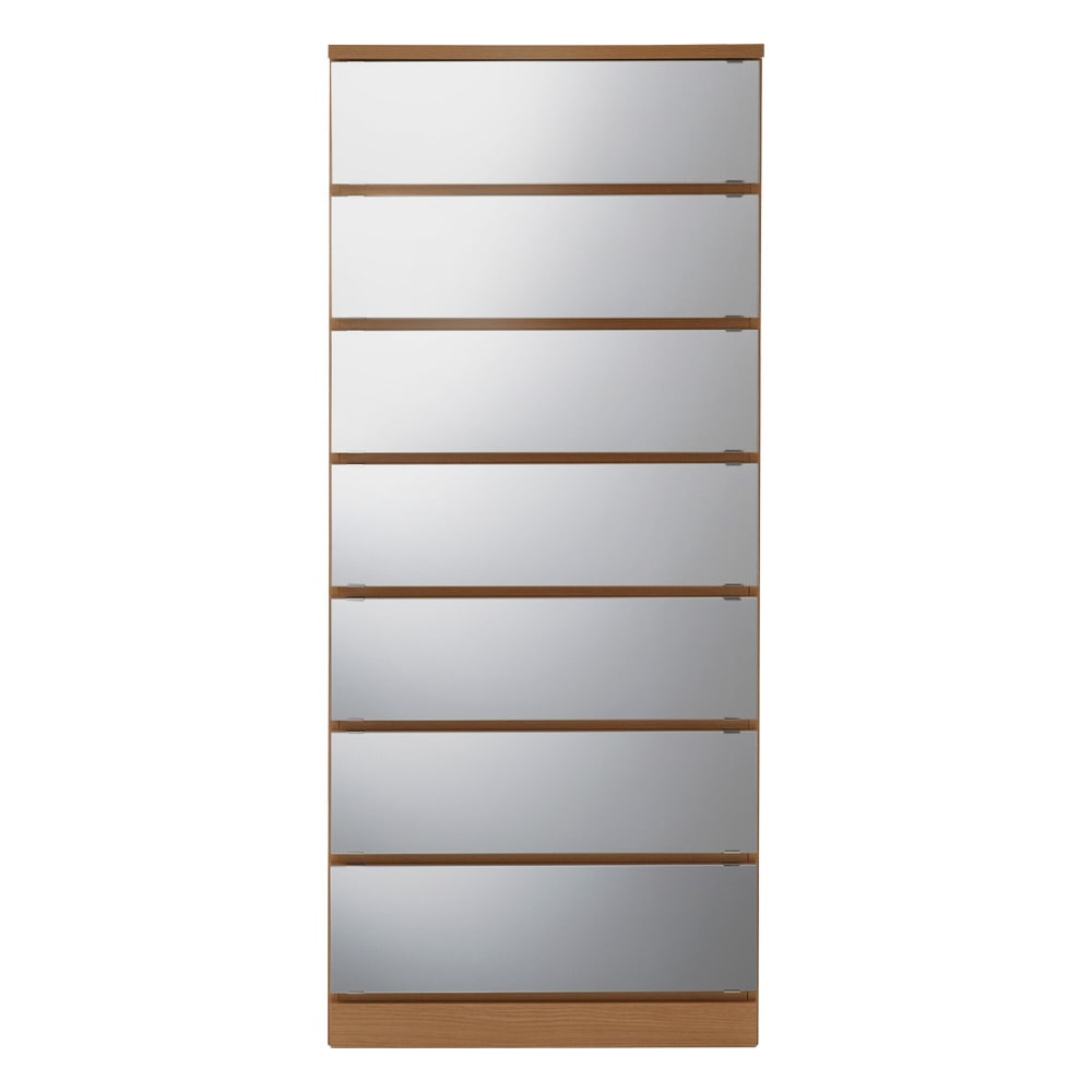 【日本製】引き戸式ミラーワードローブ タワーチェスト 幅57.5cm (イ)前板:ミラー・本体:メイプルナチュラル ※写真は幅57.5cmタイプです。