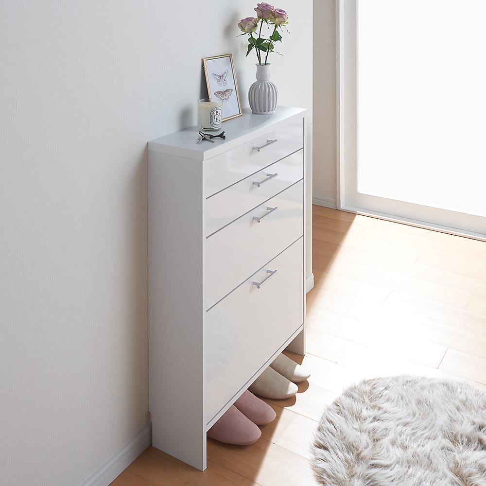 玄関小物ひとまとめチェスト 幅64cm コーディネート例(ア)ホワイト