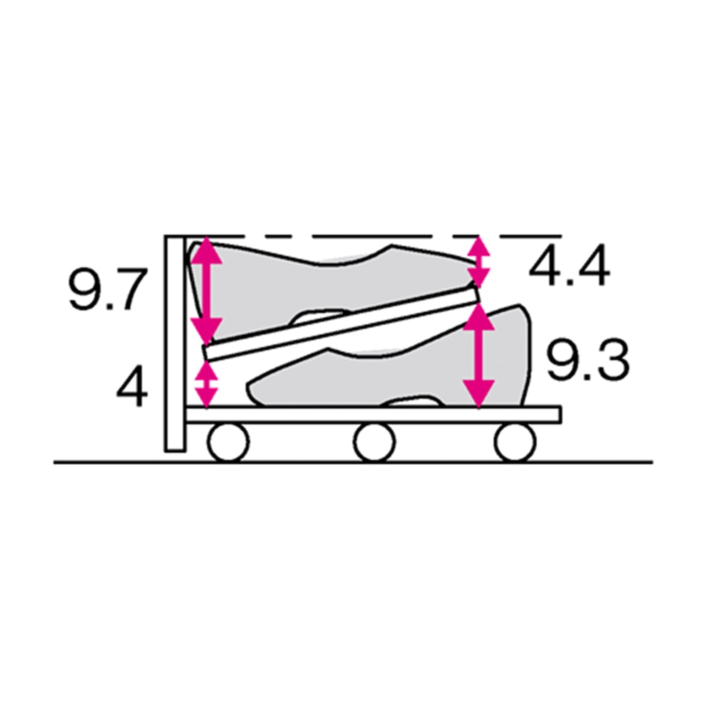 【日本製】下駄箱下木製シューズワゴン ロー(高さ20cm) 幅100cm (単位:cm)