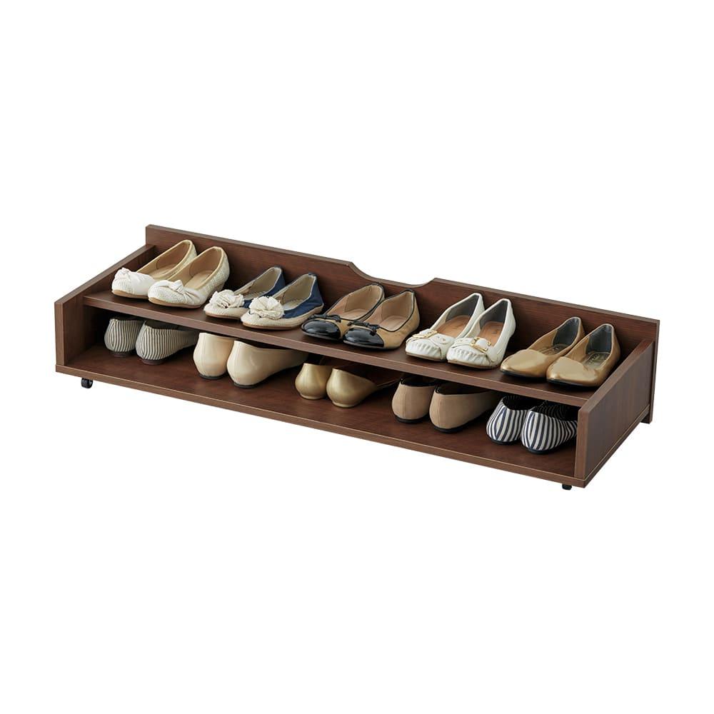 【日本製】下駄箱下木製シューズワゴン ハイ(高さ30cm) 幅100cm (ア)ダークブラウン 約10足※写真はロー幅100cmです。