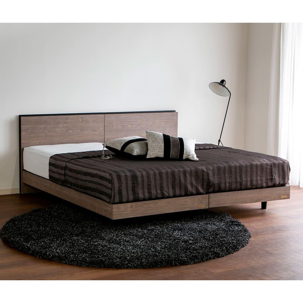 ベッド 寝具 布団 セミダブルベッド 【セミダブル】薄型棚付2段脚付きベッド マットレス付き 615352