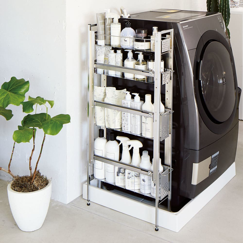 ステンレス洗濯機サイドラック 4段 幅14.5cm高さ103.2cm シルバー 洗面所収納