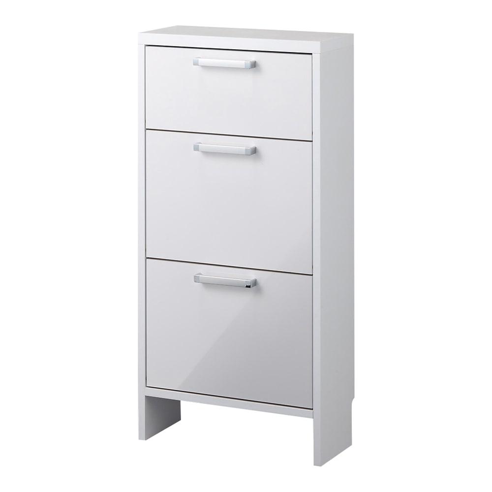 薄型フラップ収納チェスト 幅44cm・奥行19cm (ア)ホワイト 狭い洗面所や壁面収納にぴったりな薄型チェスト。フラップ式だから収納しやすく、取り出しやすいのが便利です。