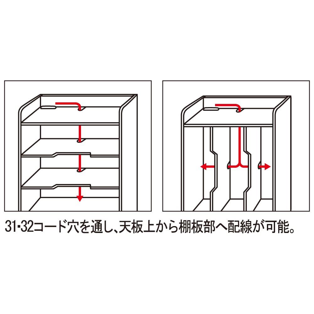 デスク上すっきりマルチワゴンシリーズ A4対応タイプ コード穴を通し、天板上から棚板部へ配線が可能。