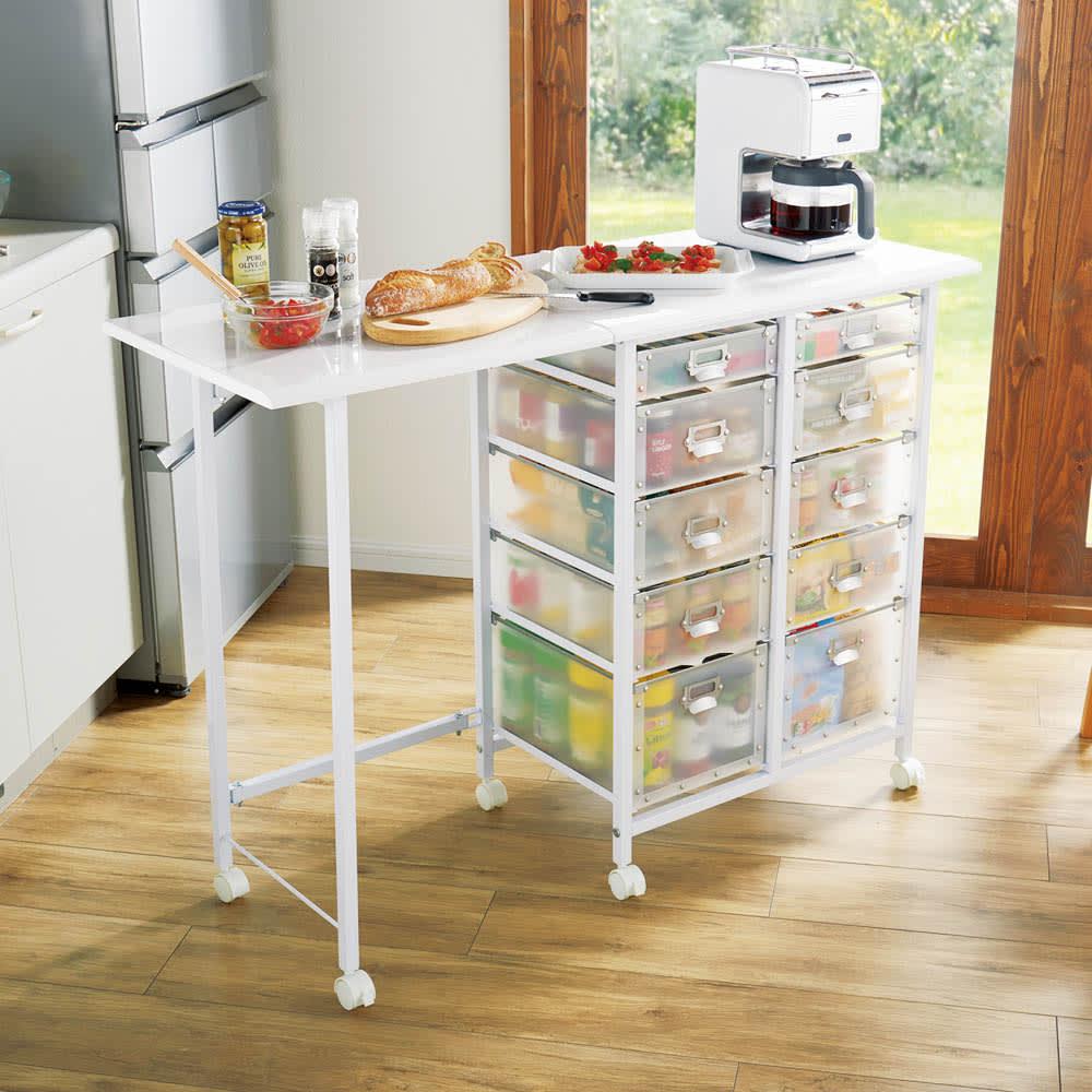 広がる調理台付き多段キッチンストッカー 幅42(天板伸長時幅90cm) 672122