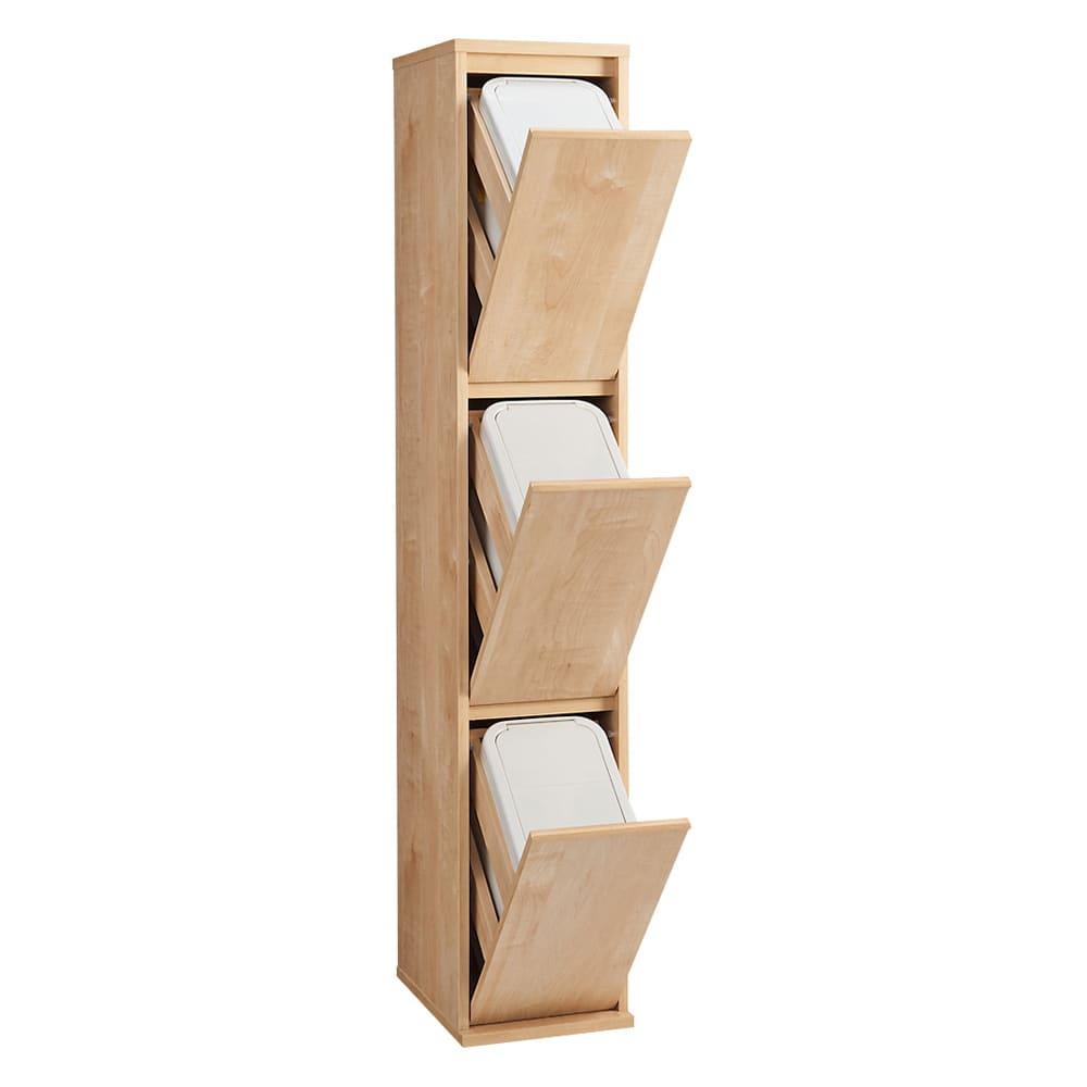 静かに閉まる家具調 分別タワーダストボックス 3分別 672305