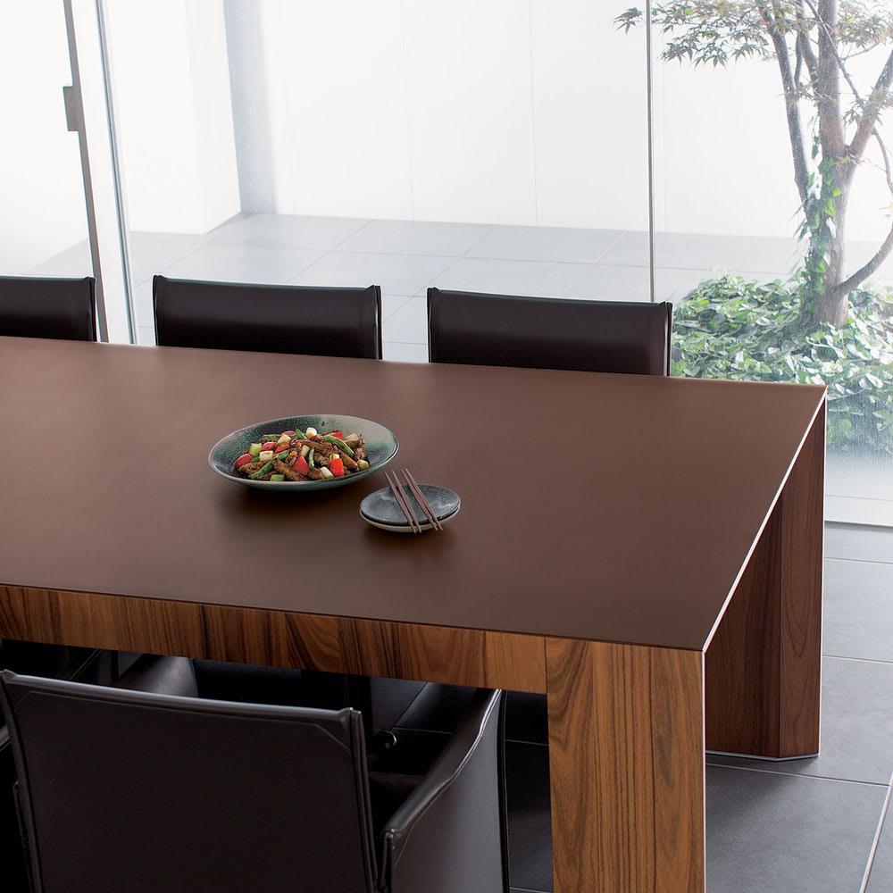 本革調テーブルマット 幅90cm(オーダーカット) (ア)ダークブラウン