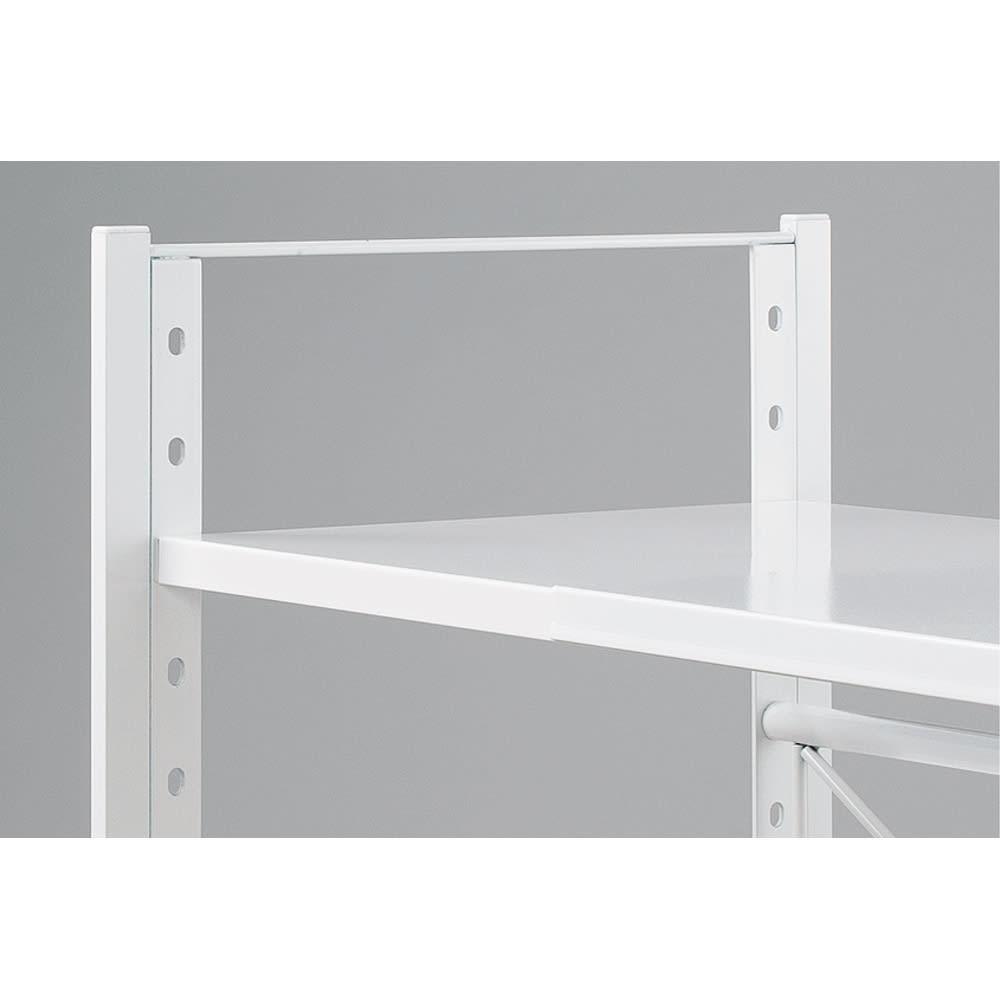 頑丈棚カウンター上収納! 脚部幅1cmキッチン収納レンジラック 高さ49.5cm 棚板は4cmピッチで調整可能。