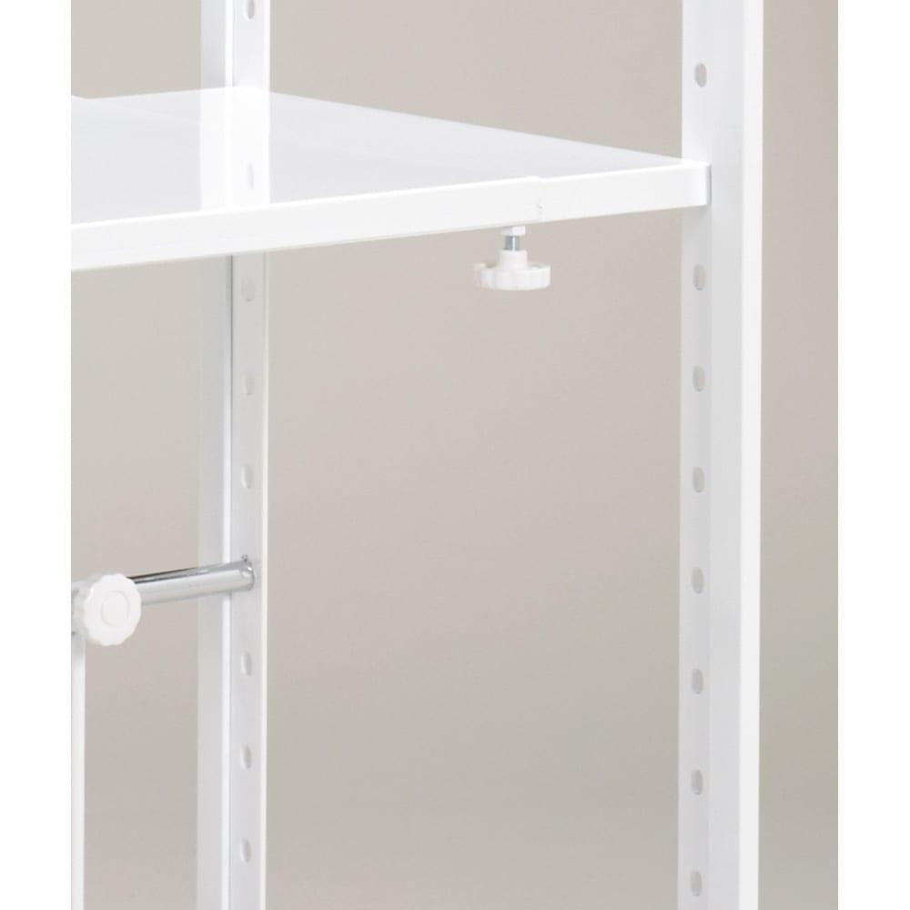 頑丈棚カウンター上収納! 脚部幅1cmキッチン収納レンジラック 高さ49.5cm 用途に合わせて幅伸縮できます。
