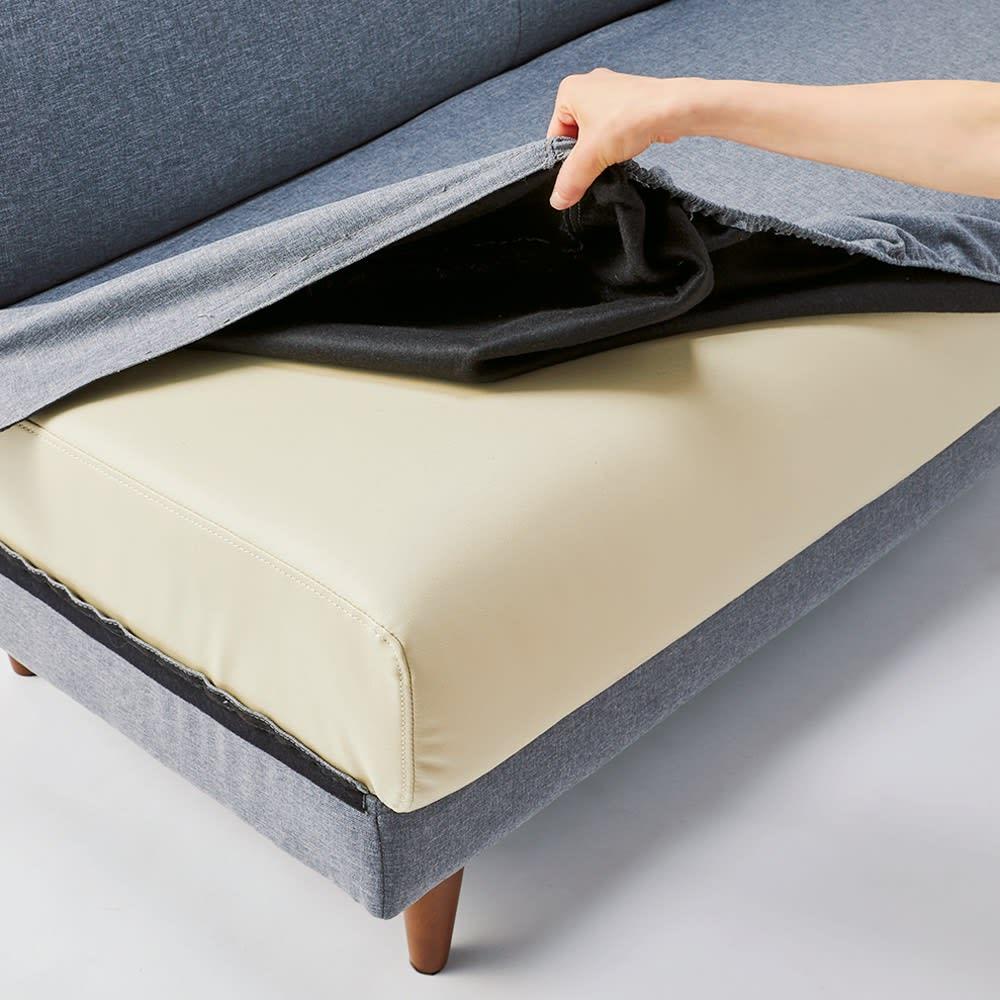 リクライニングソファ1人掛け 外して洗えるはっ水カバー。カバーを外しても座面は合成皮革なので、外したままでもご利用いただけます。