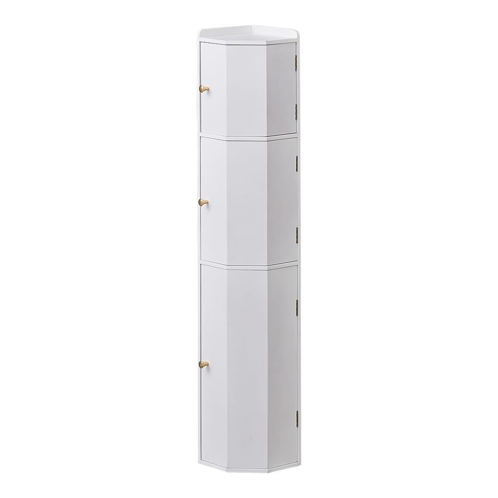 トイレコーナーラック 上部ゴミ箱付き 高さ100cm (ア)ホワイト