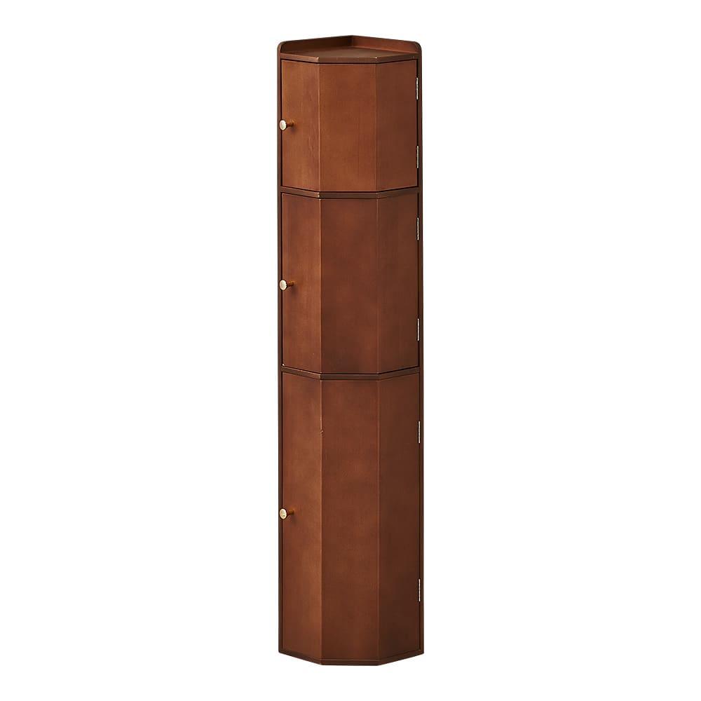 トイレコーナーラック 上部ゴミ箱付き 高さ100cm (ウ)ダークブラウン