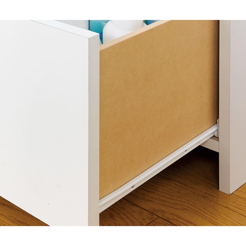 幅・奥行が選べるサニタリーチェスト 幅45・奥行45cm 下段の引き出しは全段ストッパー付きスライドレール。開け閉めもスムーズにできます。