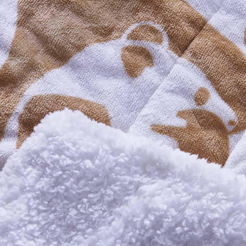 Finlayson/フィンレイソン 洗える肌掛けケット (イ)ベージュ 表面はフランネル素材、裏面はもこもこのシープボア素材。