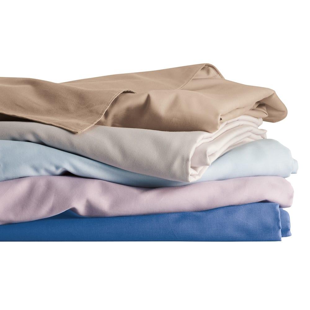 ボーテ超長綿サテンシリーズ ベッドシーツ クイーン 上から(エ)グレイッシュブラウン (オ)ライトグレー (イ)ブルー (ウ)ラベンダー (ア)ネイビー どの色を組み合わせても美しいベッドメイクになるよう、相性のよいカラーを揃えました。