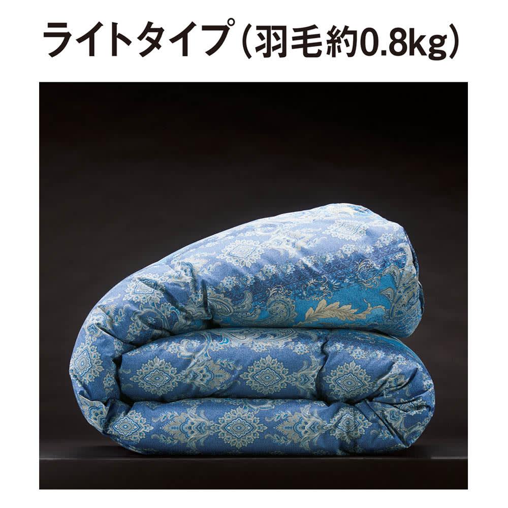 バーゲン寝具シリーズ お得な掛け+敷きセット ライトタイプ (イ)ブルー系 羽毛布団は3タイプから選べます。 暖かさで選べる3つのタイプからお選びください。より気密性の高い住宅やあまり寒くない地域には「ライトタイプ」がおすすめです。