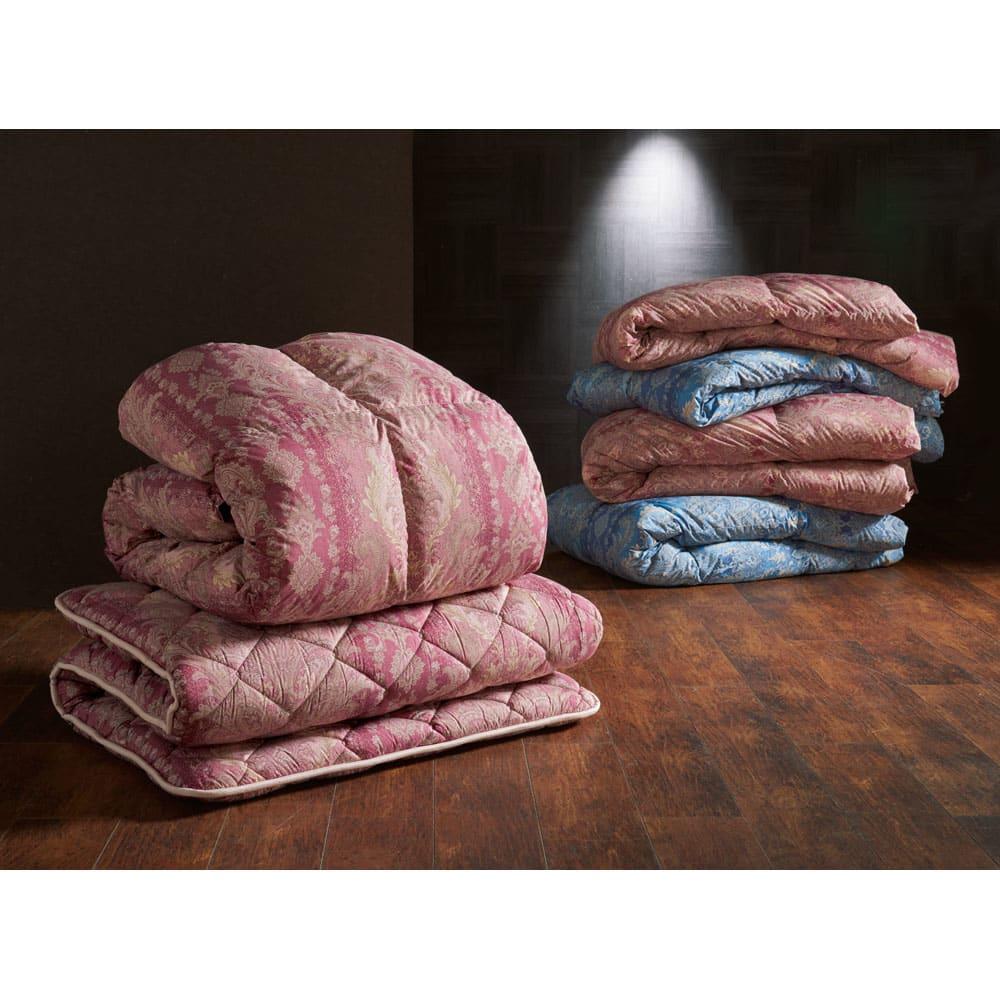 バーゲン寝具シリーズ 羽毛布団(羽毛増量タイプ) シングルロング (ア)ピンク系